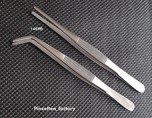2 Anatomische pinzetten Gerade und Gebogeb ca. 14cm lang  Neuware Qualität 1A