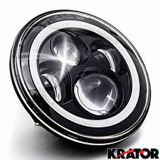 NEW 7 Inch Round LED Headlights Halo Angel Eyes For Harley Davidson Motorcycles