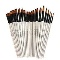AU_ 6Pcs Wolf Hair Painting Artist Brushes Filbert Oil Watercolor Canvas Brush S