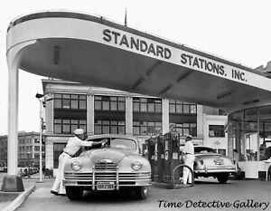 A Standard Crown Gas Station, California - 1950s - Vintage Photo Print