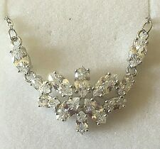 NE White gold necklace, sim diamonds, 14kGF statement bib necklace Plum UK BOXED