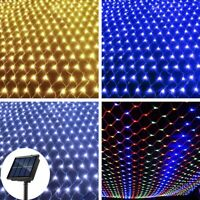 Solar LED String Fairy Lights Net Mesh Curtain Christmas Wedding Party Decor