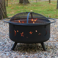"""Sunnydaze 30"""" Fire Pit Steel Cosmic Design with Cooking Grill and Spark Screen"""