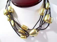 SIGNED TAG AVON SP MULTISTRAND W BRASS CHUNK BEADS TRIBAL STYLE NECKLACE VINTAGE