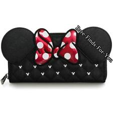 Disney Park Minnie Mouse Ear Polka-Dot Bow Mickey Icon Stud Loungefly Wallet NEW