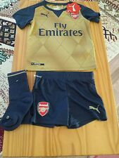 Puma Arsenal away gold football kit 3-4 years  BNWT shirt+shorts+socks 2015-2016