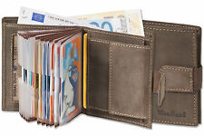 Woodland® Kompakte Geldbörse mit 18 Kreditkartentaschen aus Leder in Dunkelbraun