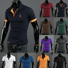 New Fashion Men's Stylish Slim Fit Short Sleeve Casual Polo Shirts T-shirt Top