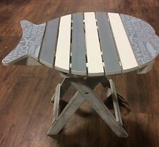 NEW Nautical Rustic Wooden Slate FOLDING FISH TABLE Blue White Stripe Garden