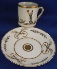 Antique Porcelain de Paris Scenic Cup & Saucer Porcelaine Vieux French Old Scene
