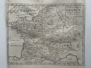 1737 France Original Antique Map By John Senex 284 Years Old