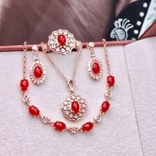 Certified Natural Red Coral S925 Silver Pendant Ring Earrings Bracelet Set