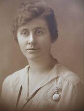 Antique B&W Photo Pretty Lady Light Blouse Nurses Watch Gentle Stare E.R Taft