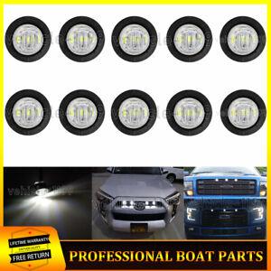 10x Universal White LED Grille Lights 12V Bumper DRL Fog Light