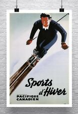 Vintage Canadian Skiing Travel Poster Rolled Canvas Giclee Print 24x36 in.