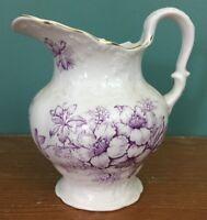 """Victorian Semi-Vitreous Porcelain KT&K Pitcher - 8 1/2"""" Purple Flower Antique"""