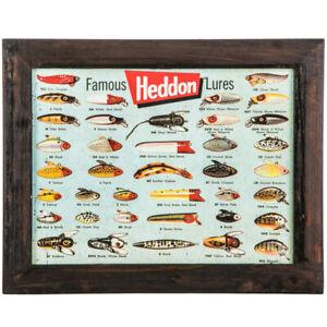 Heddon Famous Fishing Lures Wall Hanging Tin Sign Nautical Decor Vintage Tackle