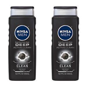 Lot Of 2 NIVEA MEN DEEP Active Clean Body Wash w Natural Charcoal 16.9 fl. oz.