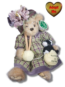 Bearington Collection Stuffed Plush Knitting Teddy Bear Mrs Knitter & Pearl Cat