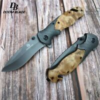 Knives Wood Steel Handle Folding Hunting Knife Fast Open Camping Pocket Tactical