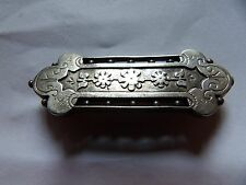VICTORIAN UNMARKED STERLING SILVER FLORAL BAR SWEETHEART BROOCH