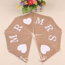 Vintage Party Hessian Decoration Love Wedding Banner Burlap Bunting Mr & Mrs