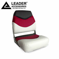 New White/Red/Charcoal Folding Boat Seat made of Marine-grade vinyl  upholstery