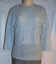 WORTH Solid Blue Angel Mohair Blend Chunky Knit Stitched Cardigan & Tank - M NWT