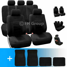Sports Car Seat Covers Complete Set with Carpet Floor Mats Black