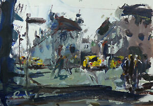 Abstract Urban Landscape Painting With Cars, Buildings & People