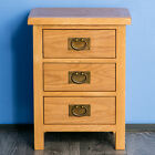 Surrey Oak Bedside Table Waxed 3 Drawer Cabinet Solid Wood Nightstand Assembled