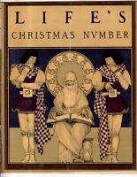 1899 Life Christmas - Original Maxfield Parrish in gold; Santa Claus; Q Victoria