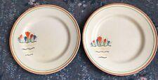 Pair Of Rare Clarice Cliff Crocus Variant Pattern 22.5cm Dinner Plate - 1937