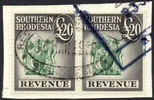 Southern Rhodesia Revenues 1954 £20 black & green pair, fine used on 1965 piece