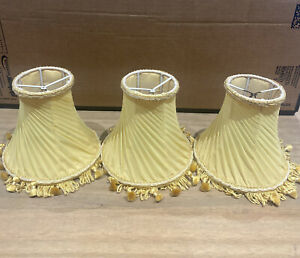 3x VINTAGE SMALL CLIP ON LAMPSHADES BURNT YELLOW