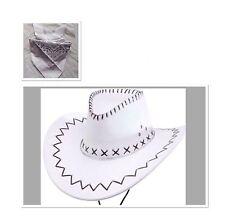 Fancy Cowboy Dress Set White Hat And Bandana Neck Scarf Wild Western Costume
