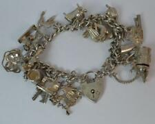 Vintage Solid Silver Ladies Charm Bracelet with Many Charms