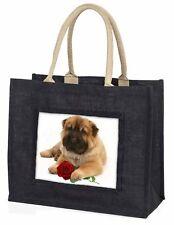 Shar Pei Dog with Red Rose Large Black Shopping Bag Christmas Presen, AD-SH2RBLB
