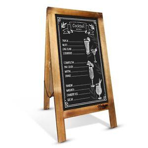 Premium Rustic Cafe Menu Chalkboard - 100x50cm Wooden Display AFrame - Sidewalk