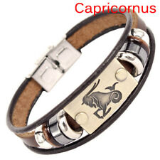 Stainless Steel Clasp Leather Bracelet 12 Zodiac Signs Bracelet Men Jewelry MD