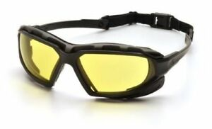 Pyramex Highlander XP Safety Glasses Black & Gray Frame Amber Anti-Fog Lens