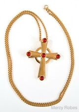 """NEW Gold Plated PECTORAL CROSS (SUBS779 G-R) with 40"""" Chain, Red Stone, Clergy"""