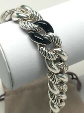 David Yurman .925 Belmont 18mm Curb Link Cable Bracelet w/Black Onyx