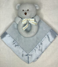 Carters Teddy Bear Blue Square Satin Lovey Security Blanket Fleece Ring Rattle