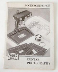 Accessories For Contax Photography - Original 1935 Catalog No. 921 50 735