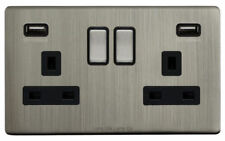 Brushed Chrome 2-Gang Plug Socket Home Electrical Fittings