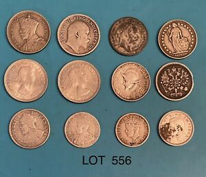 Foreign Silver Coins,Lot of 12,Lot #556, Austria,Russia,Panama,New Zealand &more
