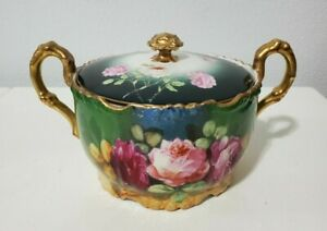 Jean Pouyat Limoges Covered Biscuit Jar Decorated w/ Roses and Gilded