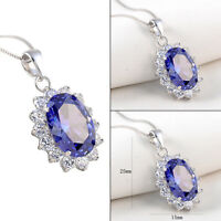 Newshe Pendant Chain Necklace 925 Sterling Silver Oval Tanzanite Blue Sapphire