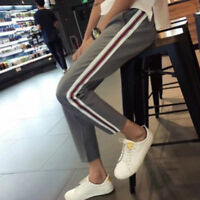 NOUVEAU FEMME Yoga décontracté pantalon sarouel côté à rayures jogging